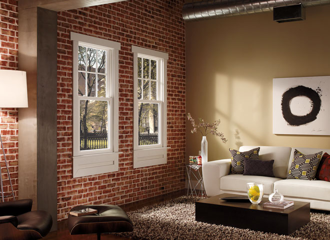 pella 350 series double hung windows on brick interior wall